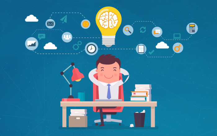 illustration of a man enjoying benefits of using a crm for sales organization